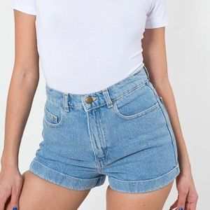 American Apparel Cuffed Denim Shorts